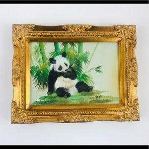 ORIGINAL PANDA BEAR BAMBOO PAINT YIP SIGNED FRAMED